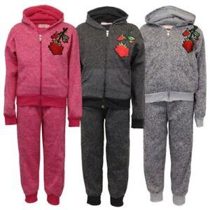 offre spéciale couleur attrayante super qualité Détails sur Survêtement fille enfants pull à capuche Applique imprimé rose  pantalon