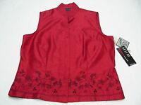 M.h.m. - Melissa Harper - Brick Red Embroidered - Size 14 Sleeveless Blouse Top