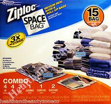 Brand New 15 SPACE BAGS Vacuum Seal Ziploc Multi Sizes Storage Bags Travel