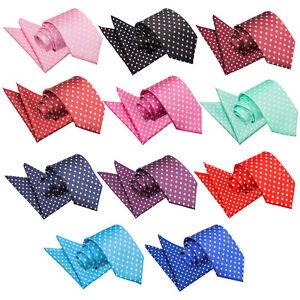 DQT-Woven-Polka-Dot-Casual-Classic-Slim-Skinny-Mens-Tie-amp-Hanky-Set-FREE-Bow-Tie