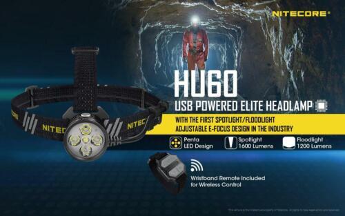Set 1600 Lumen with 2x NBP1 Powerbank /& Remo Nitecore HU60 Elite LED Headlamp