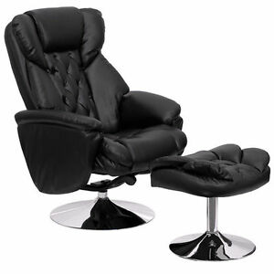 Incredible Details About Flash Furniture Black Leather Swivel Recliner And Ottoman With Chrome Base Ibusinesslaw Wood Chair Design Ideas Ibusinesslaworg