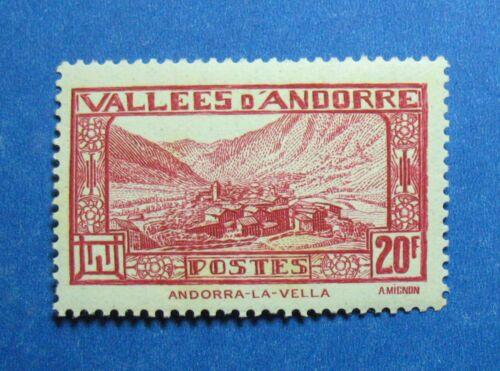 1932 ANDORRA FRENCH 20F SCOTT# 63 MICHEL # 47b UNUSED NH CS26494
