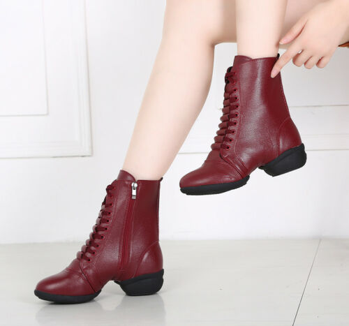 Women Girls Leather Jazz Dance Boot Shoes Lace Up Sport Dancing Shoes Soft Sole