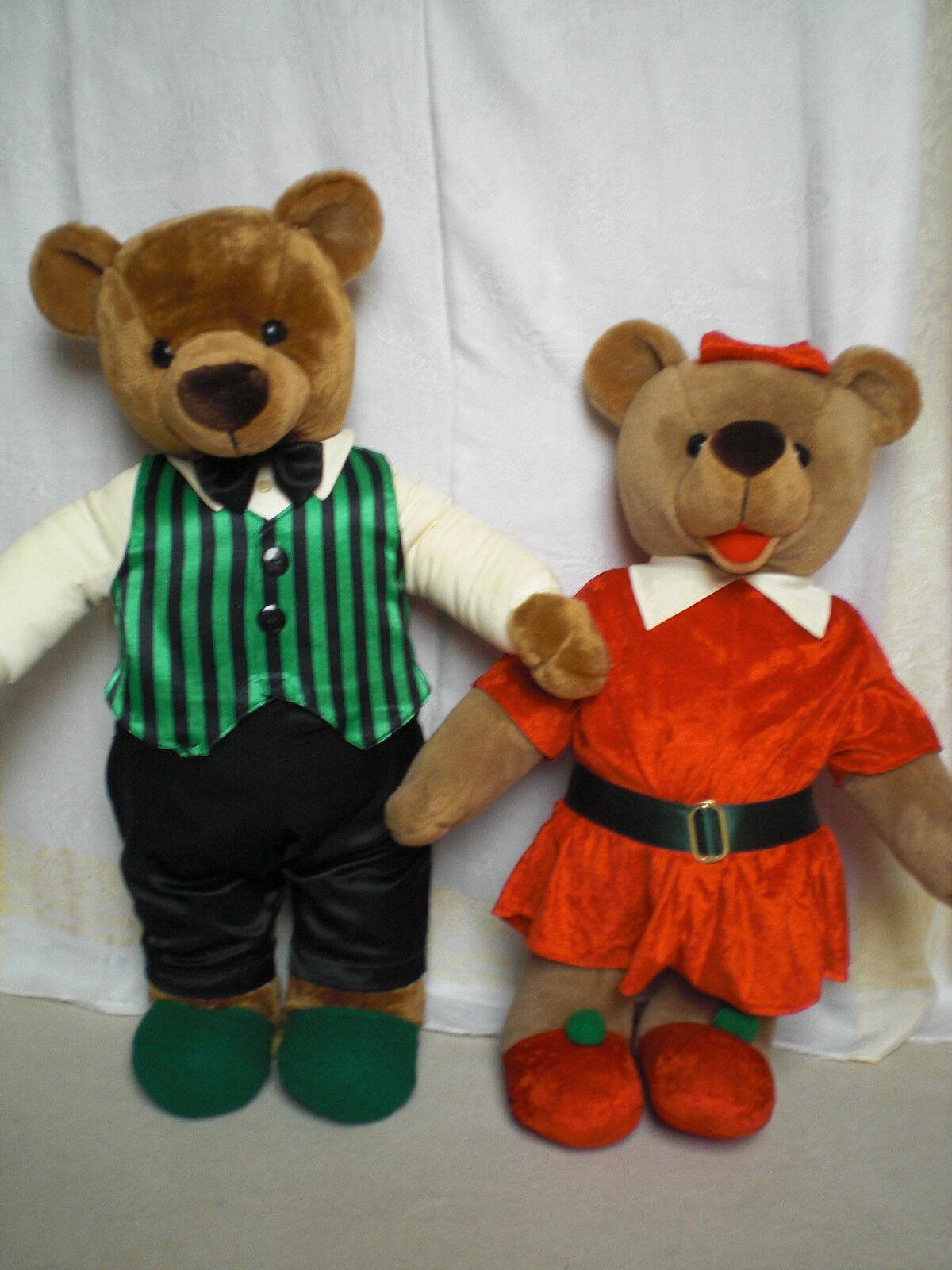 Orig.Steiner Thüringen Plüsch Teddybären Paar(Mann+Frau)73+64cm mit Zertifikat