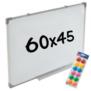 Whiteboard-Magnettafel-Wandtafel-60-x-45-cm-12-Magnete-Praesentationstafel
