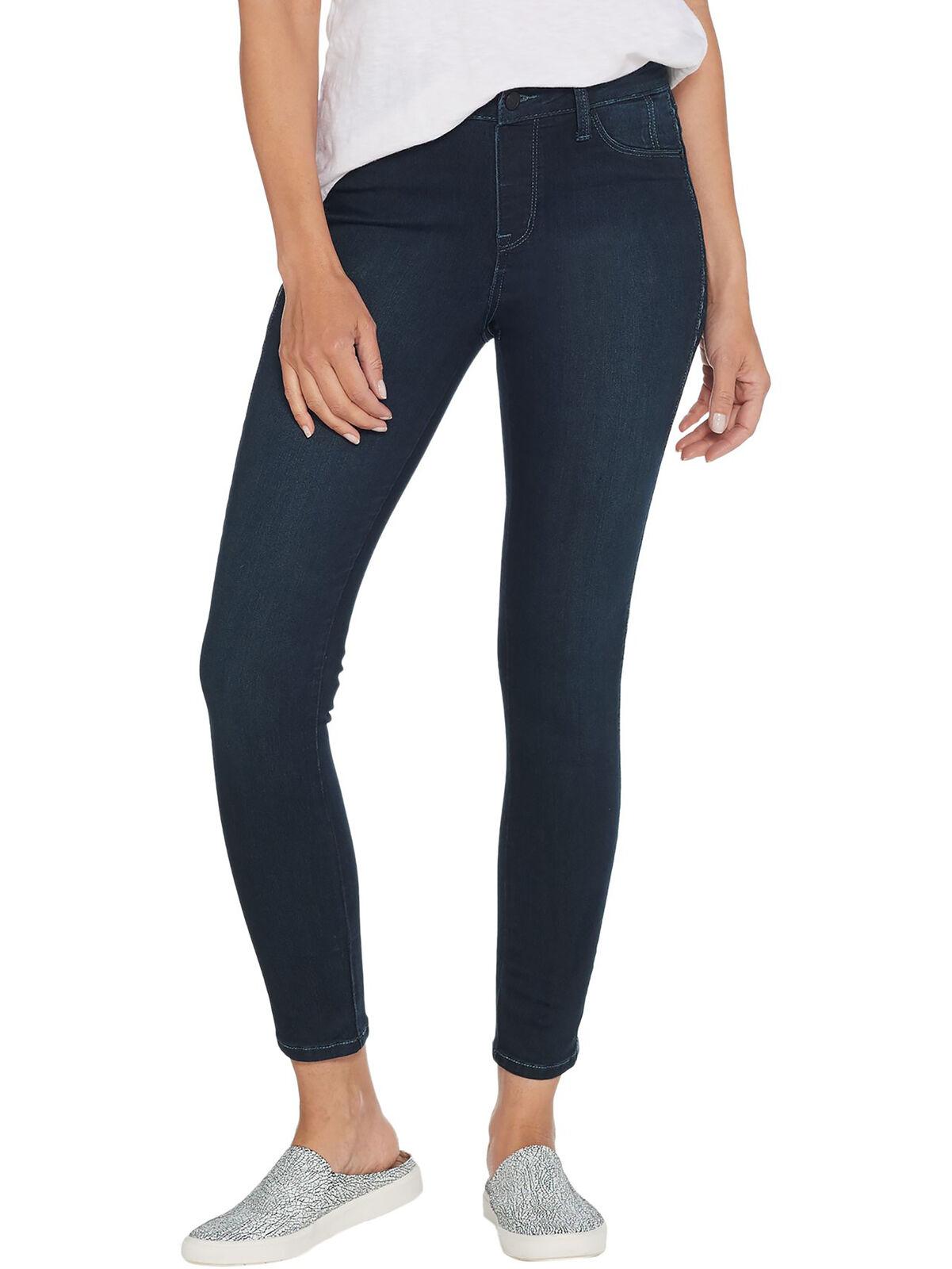 LAURIE FELT Size L Silky Denim Tuxedo-Stitch Skinny Pull-On Jeans INDIGO