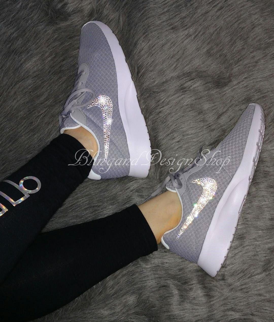NWT Women's Nike Tanjun Shoe Custom with Bling Swarovski Crystals New in Box