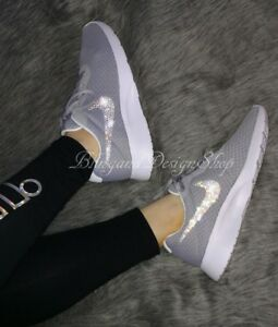 5544a0740a89 NWT Women s Nike Tanjun Shoe Custom with Bling Swarovski Crystals ...