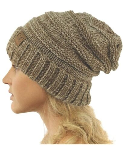 *NEW Warm Oversized Chunky Soft Cable Knit Slouchy Beanie Oatmeal Taupe Neutral