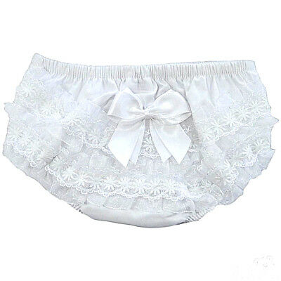 Romany Spanish White Cotton Frilly Pants with Bow Baby Girl