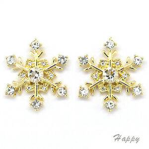 Image Is Loading Snowflake Winter Christmas Wedding Stud Earrings Costume Jewel