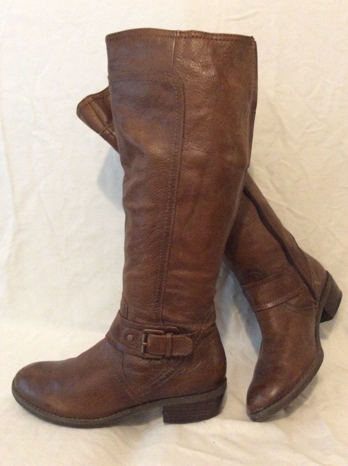Tu Brown Knee High Leather Boots Size 3