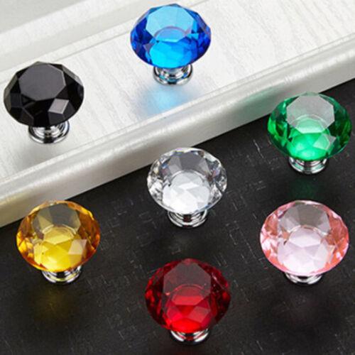 Cabinet pull knob dresser drawer door screw handle glass diamond crystal GX