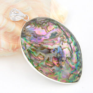 Gorgeous-Genuine-Abalone-Shell-Gems-Vintage-Silver-Necklace-Pendant-3-Inch