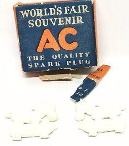 VTG AC Spark Plugs 1939 NY World's Fair Souvenir Box w/2 Sparky The Horse Charms