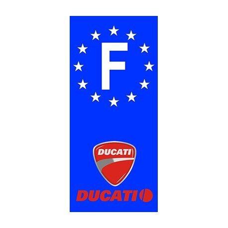 """2X Stickers Plaques Auto Fond Bleu """"Ducati"""" F"""