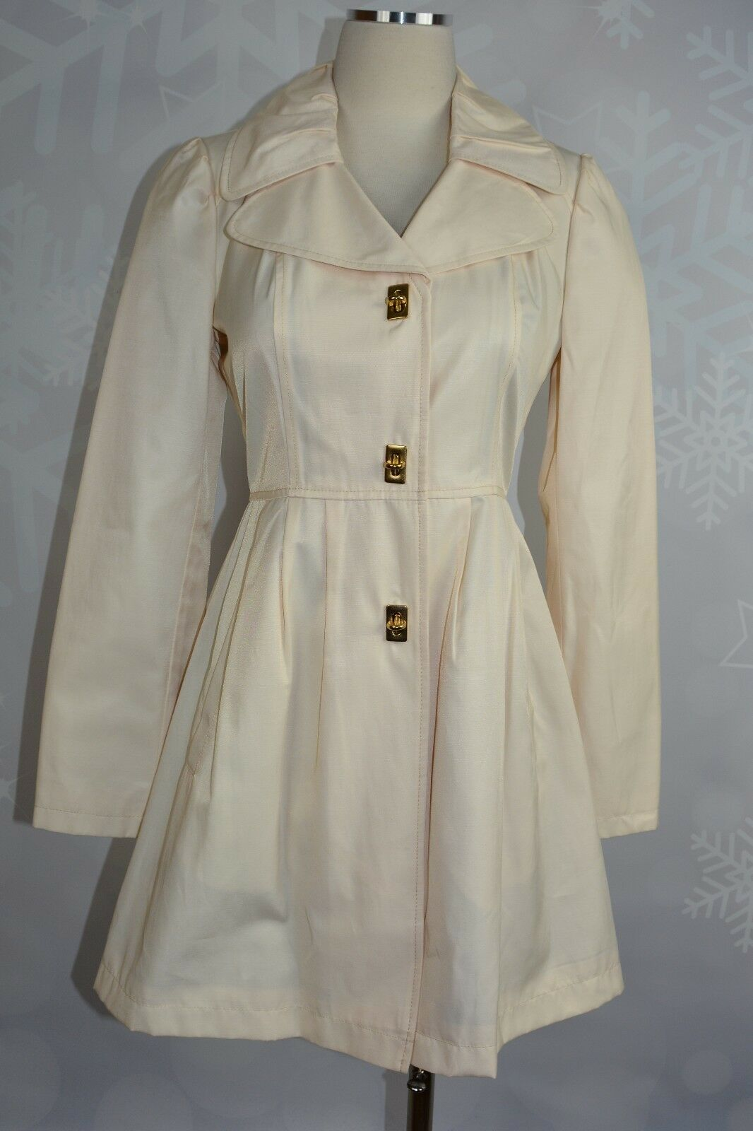 19b13aa0999 Kenneth Cole Cotton Blend Vanilla colord Trench Coat NWT size XS  ohnegj2237-Coats