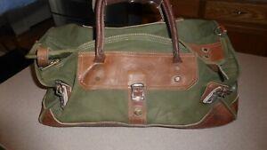 Vintage-Orvis-Green-Canvas-Leather-Battenkill-Bottom-Bag-Gokey-Duffle-19-034-Long