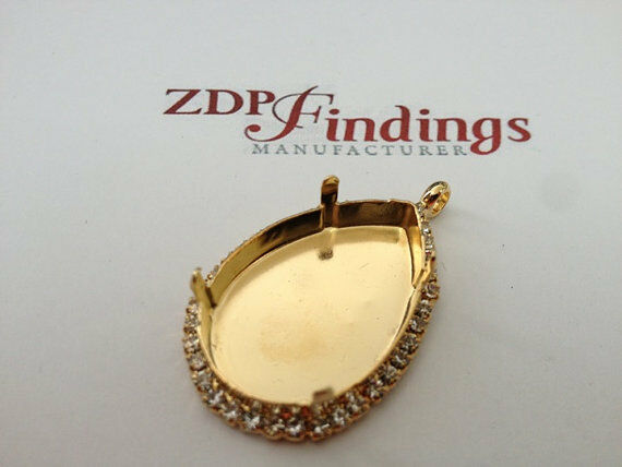 Pendant Base Setting 30x20mm w/ Rhinestones Gold Plated Fit Swarovski 4327