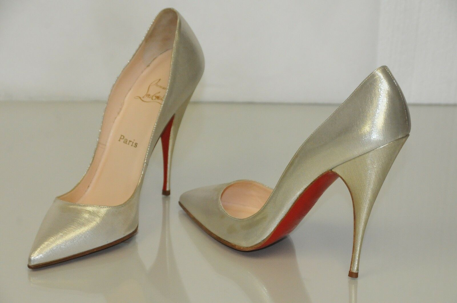 995 NEW Christian Louboutin Pumps Light gold Shimmer Lame  Heels shoes 39