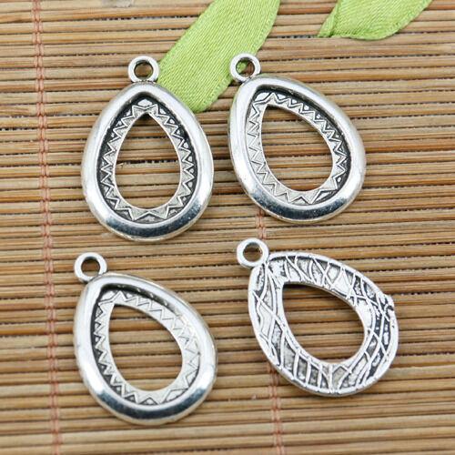 6pcs tibetan silver color tear shaped cabochon setting drop EF2298