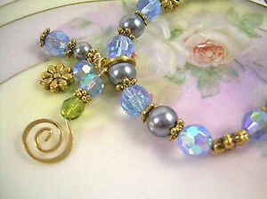 Pearl and Crystal Bracelet With Earrings, Blue & Gray Swarovski Beads Boho