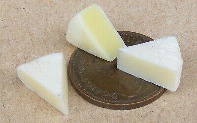 1:12 Scale 3 Stilton Cheese Slices Tumdee Dolls House Miniature Food Accessory