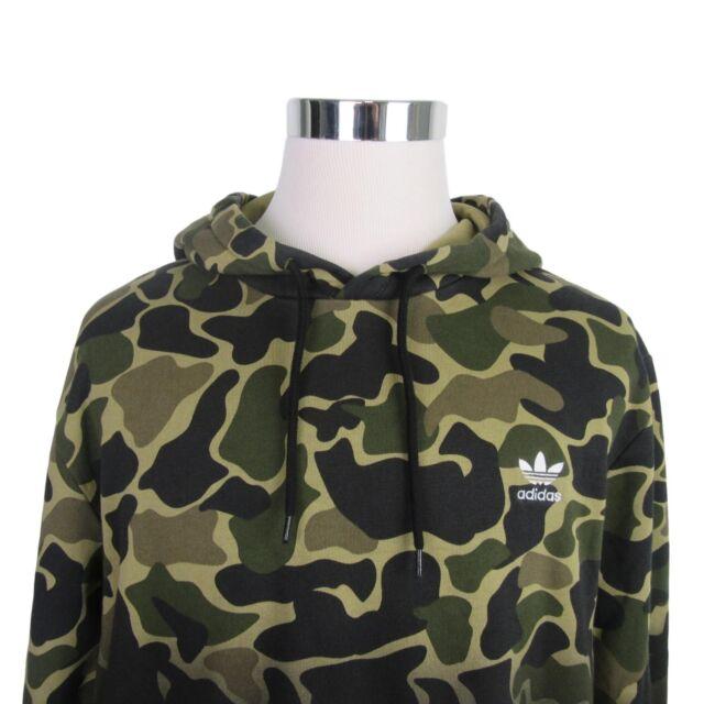 new style fa7d0 5a4a7 Sz 2xl adidas Originals Camo Hoodie Pullover Sweater Trefoil Logo CE1547
