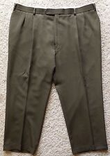 BROOKS Brothers PANTS 43 27 Green OLIVE Mens TROUSER Wool CANADA Pleated Cuffed*
