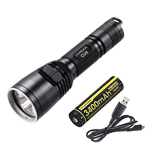 Nitecore CU6 Ultraviola LED Flashlight  440Lm w NL1834R Battery USB Cord