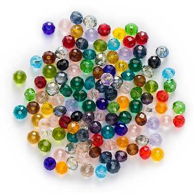 50pcs Round Cut Faceted Crystal Glass loose spacer Beads Jewelry Making 4-8mm