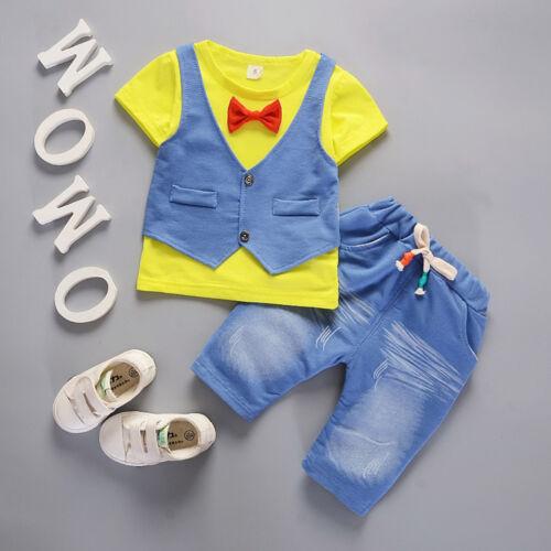 Toddler Kids Baby Boys Outfits Short Sleeve T-shirt Pants Gentleman Clothes Set