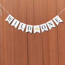A Wild One Crown Paper Banner Happy 1st Birthday Party Garland Hanging Sign
