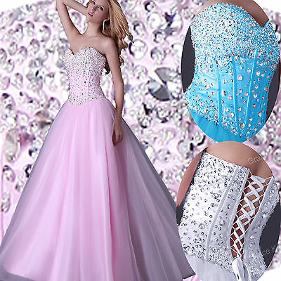 2015 Beaded LONG Wedding Prom Ball Formal Evening Party Prom Dresses Quinceanera