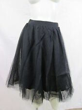 Charlotte Russe TULLE High Waist Knee-Length A-Line Skirt BLACK Extra Small NWT