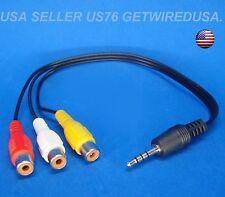 3.5mm Mini AV Male 3-RCA Female Audio Video Cable Stereo Headphone Jack Adapter