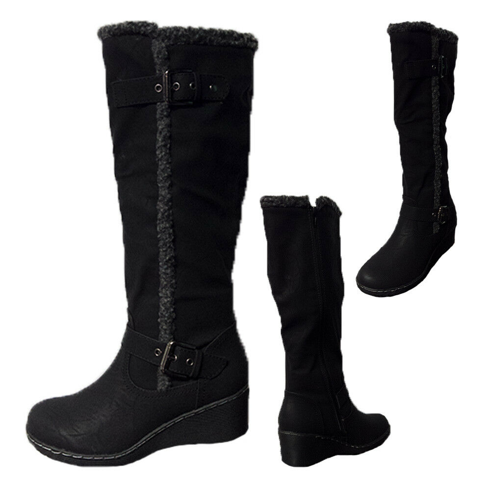 Ladies Boots Bellissimo Fillipa Black Distressed Finish Fluffy Trim Size 5-10
