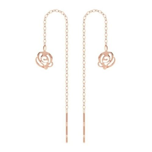 TPD 14K Solid Rose Gold Rose Shape Long Threader Drop Dangle a Pair of Earrings