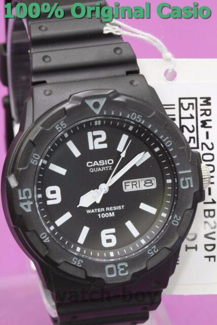 MRW-200H-1B2 Black White Casio Watches 100M Date Day Display Analog Resin New