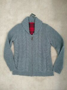 Eddie-Bauer-Womens-M-Lambs-Wool-Cable-Fable-Cardigan-Sweater-NEW-Gray-NEW-149