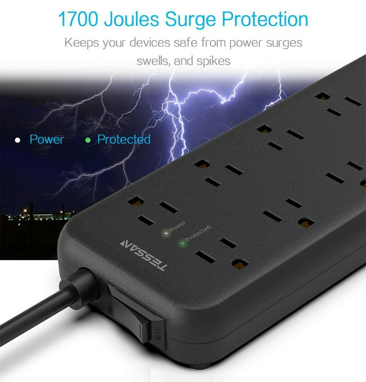 CRST Circular 9 Outlet Power Strip Surge Protector Tower Portable 3 Port USB Hub