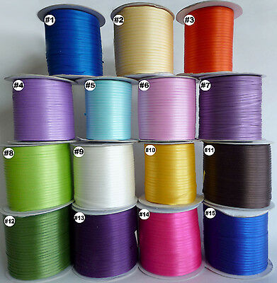"3mm(1/8"") mixed satin double faces ribbon lot craft 10 Yards 15 colors U pick"