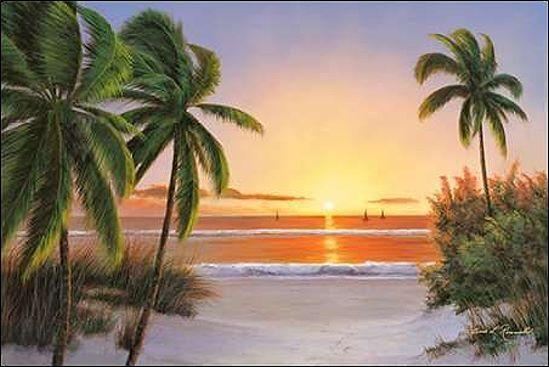 Diane ROMANELLO Sunset NAVE barella-immagine Schermo PALME TRAMONTO SUL MARE