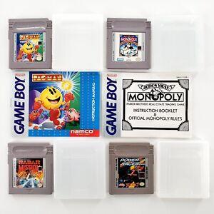 Nintendo-Game-Boy-Games-Lot-Of-4-w-2-Manuals-Pac-Man-Power-Racer-Radar-Mission