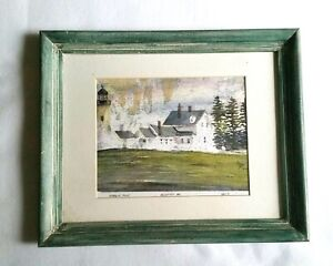 Pemaquid-Lighthouse-Muscungus-Bay-Landscape-Nautical-Wall-Art-Paint-Wash-Frame