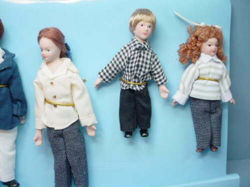 Miniature Doll Family of Six #G7673 Porcelain Town Square Miniatures