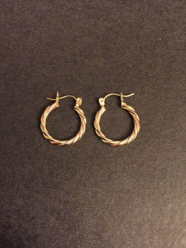 14k Gold Three Colors Twist Hoop Earrings