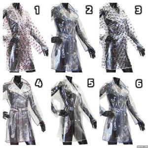 Ladies-Girls-Transparent-Clear-Fashion-Festival-PVC-Raincoat-Coat-Jacket-Mac