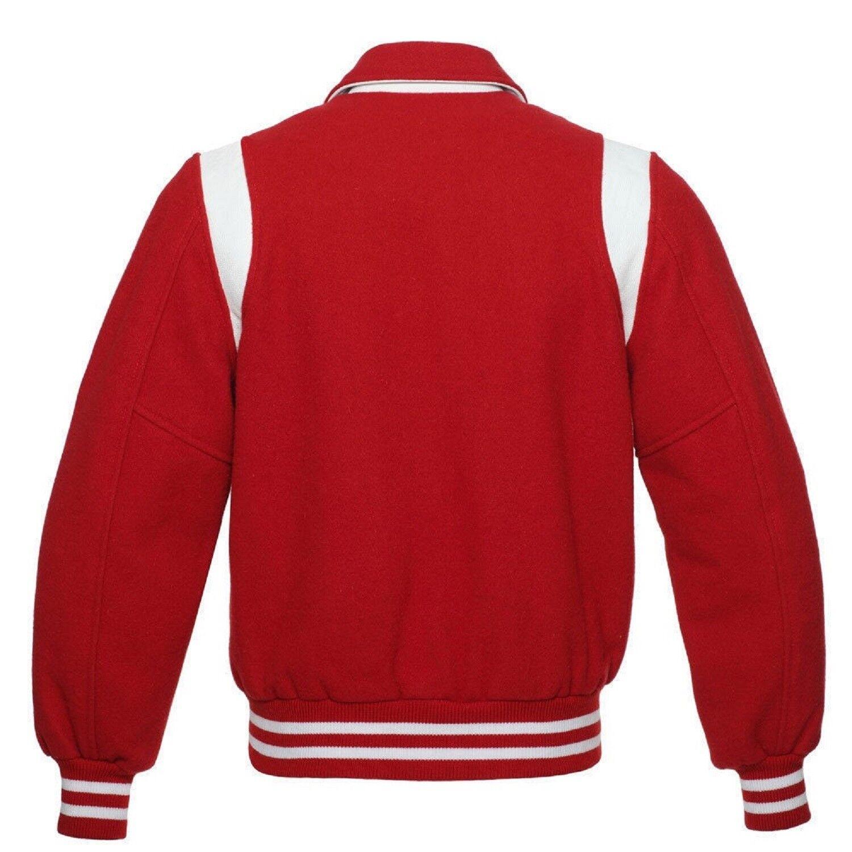 Solido di lana lana lana rossa Letterman College Baseball Varsity con colletto Retrò Giacche/RIB c85905